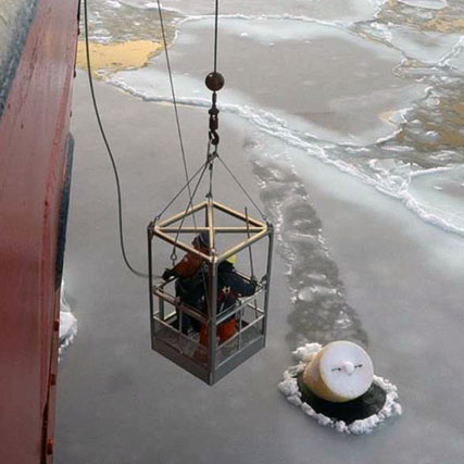 Rescuing a buoy from the ice