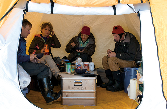 team prepared meals and hot drinks over a gas stove in a 10-by-10-foot cook tent