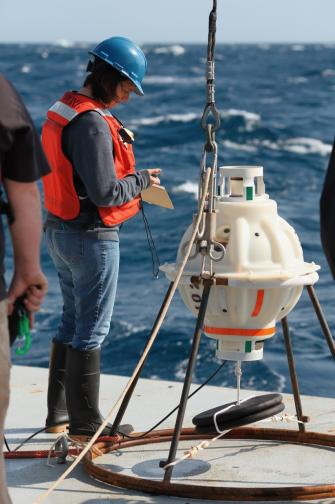 Magdalena Andres on the fantail of the R/V Neil Armstrong