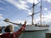 BL Owens waving goodbye to the SEA schooner Corwith Cramer.