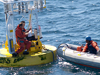 WHOI UOP group conducting at-sea repair on an ASIMET buoy.