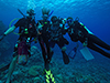 Divers on a reef off Micronesia