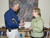 Sandy Williams presents Susan Avery with artifact from former R/V <em>Atlantis</em>
