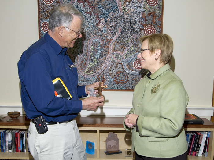 In January, WHOI Scientist Emeritus Sandy Williams presented the Institution's President and Director Susan Avery with a small, wooden crucifix, given to him by an Argentinean naval architect.