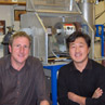Albert Benthien and Baoxi Han Post-docs 2004 with the gas-ion source .