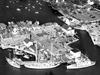 Aerial view of R/V's Aries, Atlantis, Crawford, and Bear at WHOI dock.