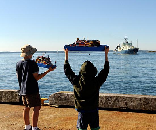 Boys greet Atlantis with Lego models