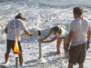 Sand core tube into beach