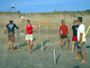 Becky Gast and colleagues setting up sample cores on beach at Duck, N.C.