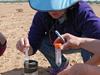 Joan Bernhard preparing sediment sample