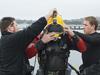Ed O'Brien prepares to dive