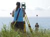 Surveying Falmouth beach