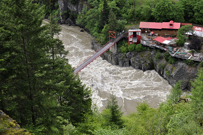 An aerial view of Hell's Gate from the Airtram in British Columbia, taken during Bernhard Peucker-Ehrenbrink's 2011 Fraser River expedition.
