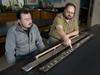 Camilo Ponton and Liviu Giosan examine a sediment core from India