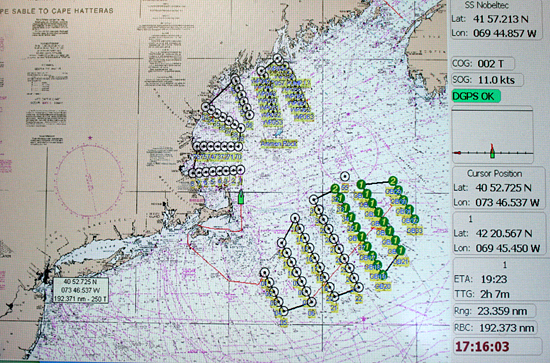 map of the sampling locations for the research crew sailing on the RV Oceanus
