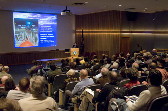 Maurice Tivey, a geologist at WHOI, addressed an international group of scientists, policymakers, environmentalists, and industry representatives who gathered at WHOI in early April 2009 for a workshop and public colloquium called