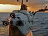 Alvin swimmer dives at sunset