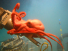 Red octopus clinging to DSV Alvin's manipulator arm.