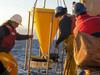 Deploying a sediment trap from R/V Oceanus