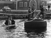 Al Vine and colleagues rigged this tire ferry to keep foot traffic moving on Water Street in Woods Hole.