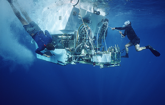 enter the water to check various components