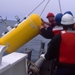 profiler being loaded at sea