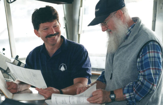 A.D. Colburn consults with WHOI Marine Department electronics technician Steve Page on the bridge of R/V Knorr