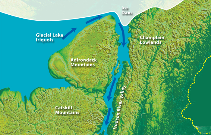 An ice dam forming a large Ice Age lake collapsed 13,350 years ago, sending a flood down the Hudson River Valley.