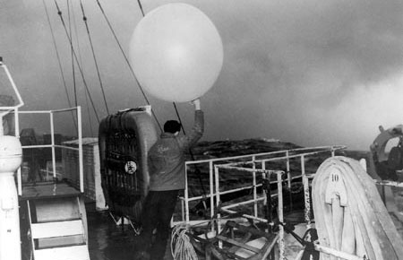 Weather balloons were released from weather ships every six hours to gather data from elevations as high as 50,000 feet.