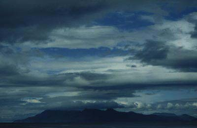 Isle of Rum seen from the port of Mallaig