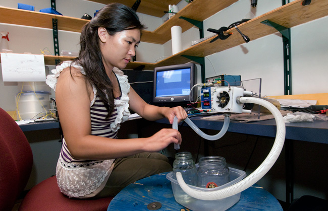 Stephanie Chin worked on engineering a new biological sampler for autonomous underwater vehicles.