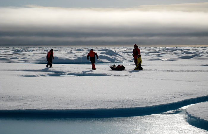 The research team led by David Griffith also sampled ice and snow from an ice floe in the Canada Basin.