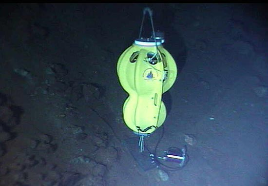 Ocean-bottom seismometer being field-tested