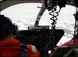 Ice reconnaissance by helicopter.