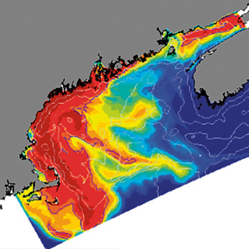 computer simulation of the historic 2005 toxic algae bloom in New England