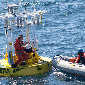 WHOI UOP group conducting at-sea repair on an ASIMET buoy.