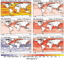 Maps depict the model-estimated atmospheric deposition rates of carbon, nitrogen, and sulfur; alkalinity; and potential alkalinity to the ocean caused by human activity relative to conditions before the Industrial Age began.