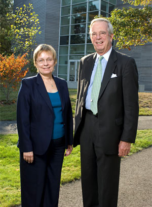 Susan Avery, with Newt Merrill, chairman of the Board of Trustees.