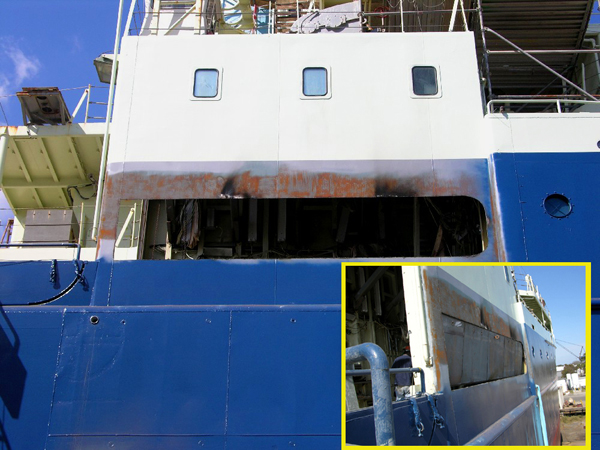 The outboard bulkhead of the starboard hanger was cut out to allow as long a core as possible [150?] to be safely rigged [inboard] on the Knorr.  Insert shows plugs that were fabricated to close in the slot during non-coring ops.