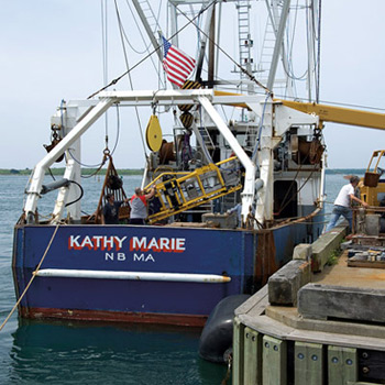 HabCam instrumentation is hoisted aboard the scallop boat Kathy Marie for a test run.