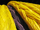 The Puget Sound hybrid rope is coated with proprietary urethane mixtures to enhance its coefficient of  friction externally.  The parent coating for BOB and Plasma were retained so that the transition from one blend to another is visible.