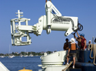 The Allied systems Grapple being assembled for the first time onboard Knorr at the WHOI pier.