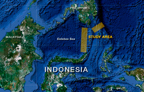 The expedition explored unknown ocean areas (orange boxes) in SATAL—a contraction of Sangihe and Talaud, two island chains stretching northeast of North Sulawesi.
