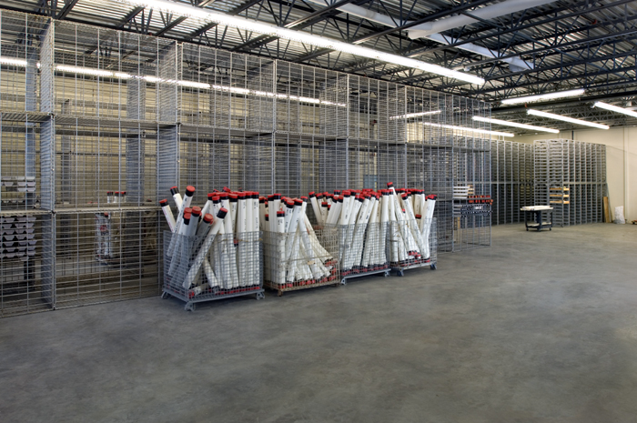 New racks for storage of long core samples await sea trials.  The new storage facility [~6600 square feet ] also has racks for dredge and submersible samples, a walk in refrigerator and a special dry room for sulfide chimneys from hydrothermal vents.