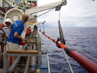 Davits in action on the longest core [150 feet] of Sept. 07 seatrials during launch.