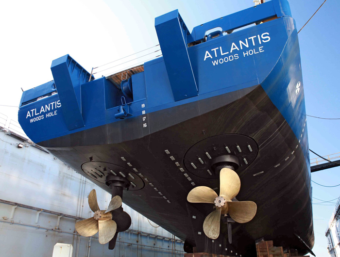 On April 23, 2011, R/V Atlantis came out of dry-dock in Jacksonville, Florida, with a fresh coat of paint and a full schedule of science cruises.