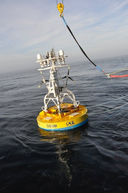 OOI's Coastal Suface Buoy being deployed at the Pioneer Array from the R/V Atlantis.