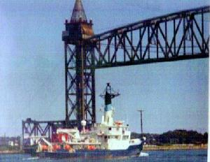 Oceanus Passing Under the Cape Cod Canal Railway Bridge
