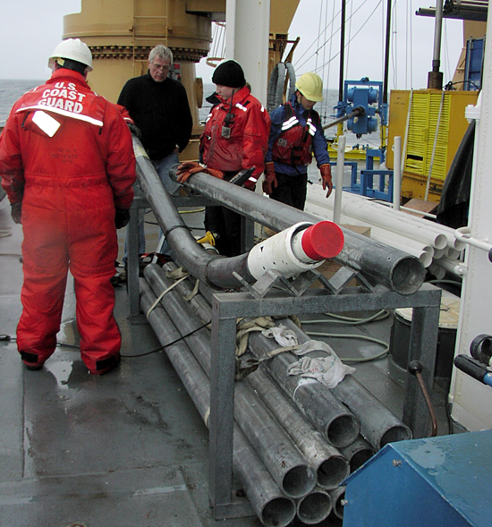 Attempting to piston core the consolidated shelf sediments in the Chukchi Sea caused the core casing to bend.