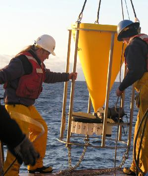 Cindy Pilskaln Deploying a Sediment Trap from Oceanus